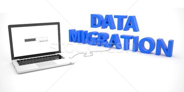 Adat vándorlás laptop számítógép szó fehér 3d render Stock fotó © Mazirama