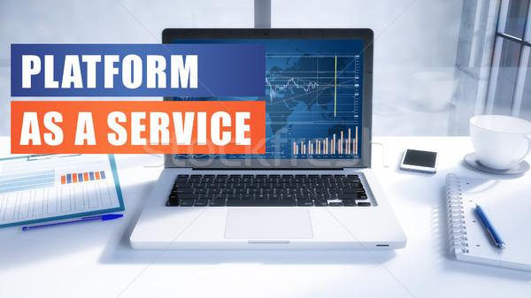 Dienst tekst moderne laptop scherm Stockfoto © Mazirama