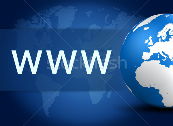 Www wereldbol Blauw wereldkaart computer internet Stockfoto © Mazirama