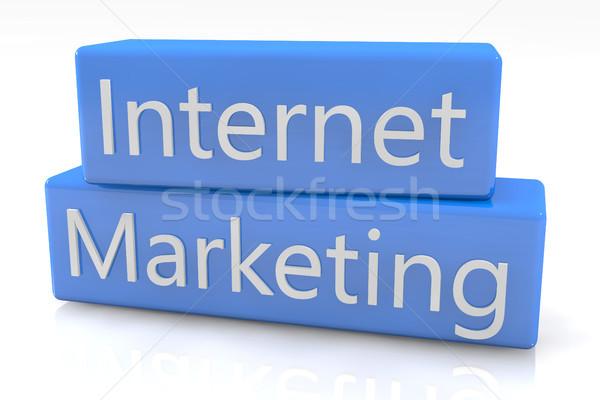 Kék doboz internet marketing fehér internet térkép Stock fotó © Mazirama