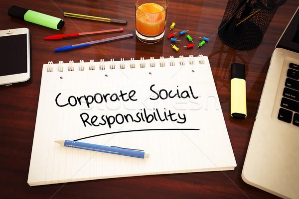 Kurumsal sosyal sorumluluk metin defter Stok fotoğraf © Mazirama