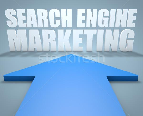 Zoekmachine marketing 3d render Blauw pijl wijzend Stockfoto © Mazirama