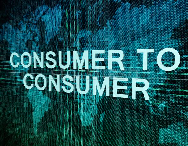 Consumatore testo verde digitale mappa del mondo internet Foto d'archivio © Mazirama