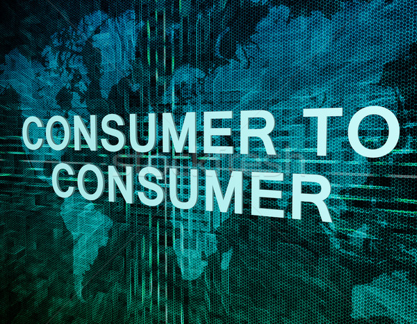 Consument tekst groene digitale wereldkaart internet Stockfoto © Mazirama