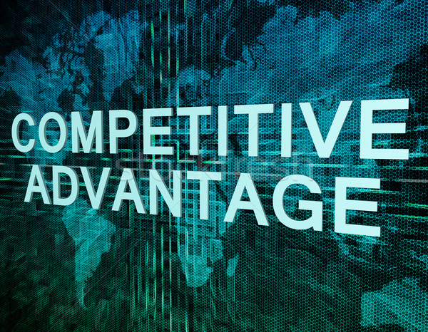 Competitivo vantaggio testo verde digitale mappa del mondo Foto d'archivio © Mazirama