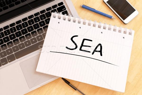 Zoekmachine reclame zee tekst notebook Stockfoto © Mazirama