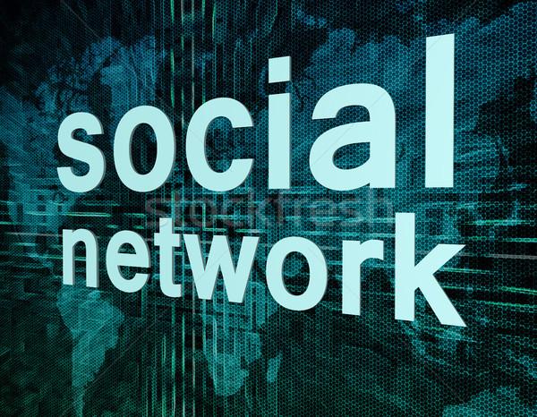 Rede social palavras digital mapa do mundo tela mão Foto stock © Mazirama