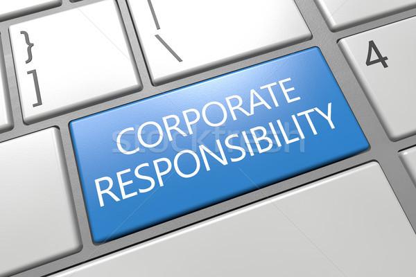 Corporate responsabilità tastiera rendering 3d illustrazione parola Foto d'archivio © Mazirama