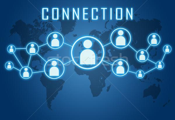 Stockfoto: Verbinding · Blauw · wereldkaart · sociale · iconen · computer