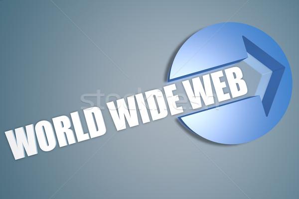 всемирная паутина 3d текста оказывать иллюстрация стрелка круга Сток-фото © Mazirama