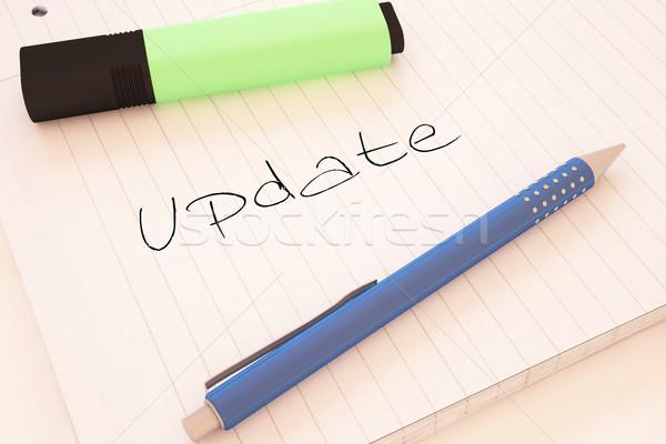Frissítés kézzel írott szöveg notebook asztal 3d render Stock fotó © Mazirama