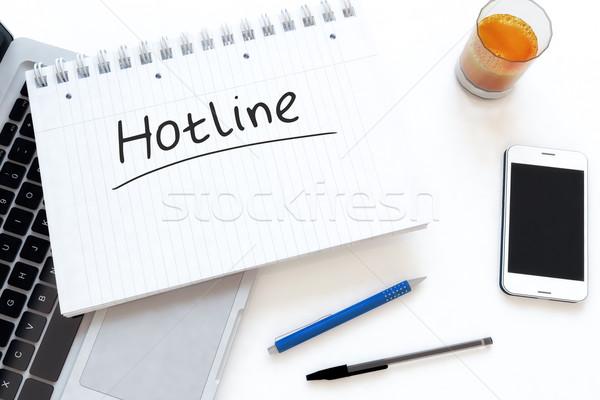 Línea directa texto cuaderno escritorio 3d Foto stock © Mazirama