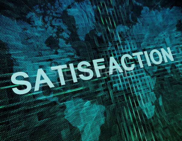 Elégedettség szöveg zöld digitális világtérkép kommunikáció Stock fotó © Mazirama