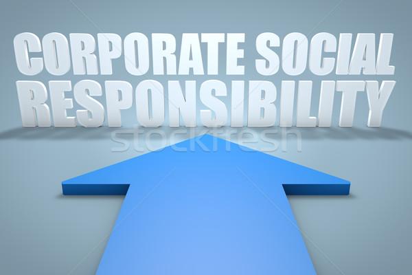 корпоративного социальной ответственность 3d визуализации синий стрелка Сток-фото © Mazirama