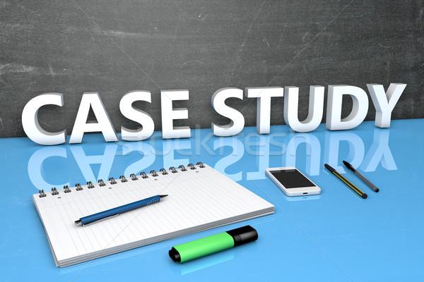 Caso studio testo lavagna notebook penne Foto d'archivio © Mazirama