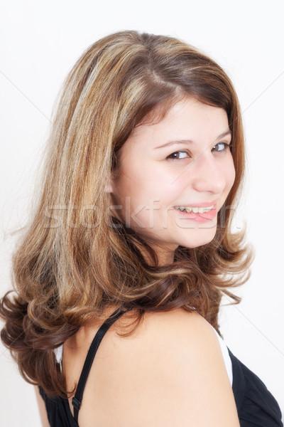 Portret jonge brunette meisje bruine ogen gelukkig Stockfoto © Mazirama