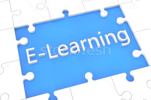 Puzzle online oktatás szavak kék terv oktatás Stock fotó © Mazirama