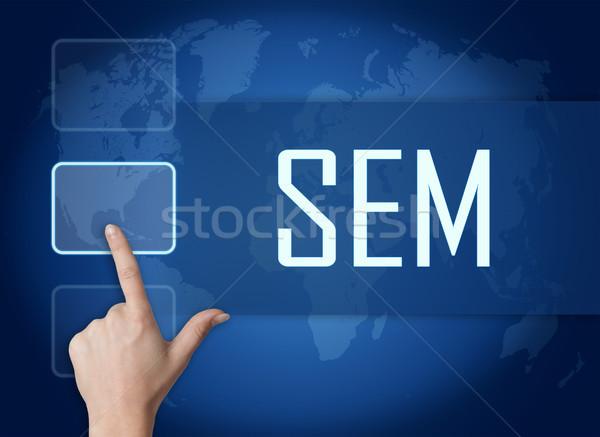Keresőmotor marketing interfész világtérkép kék siker Stock fotó © Mazirama