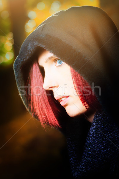 Beautiful redhead woman with blue eyes Stock photo © Mazirama