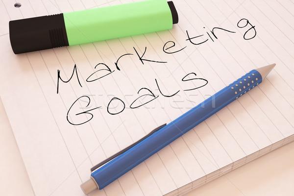 Stock fotó: Marketing · célok · kézzel · írott · szöveg · notebook · asztal