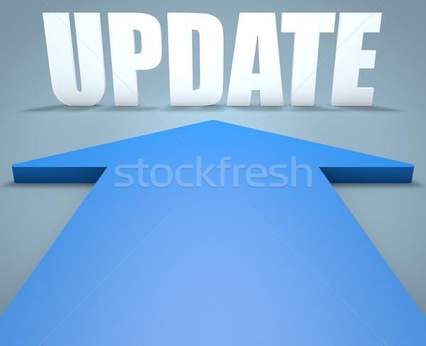 Сток-фото: обновление · 3d · визуализации · синий · стрелка · указывая · мобильных