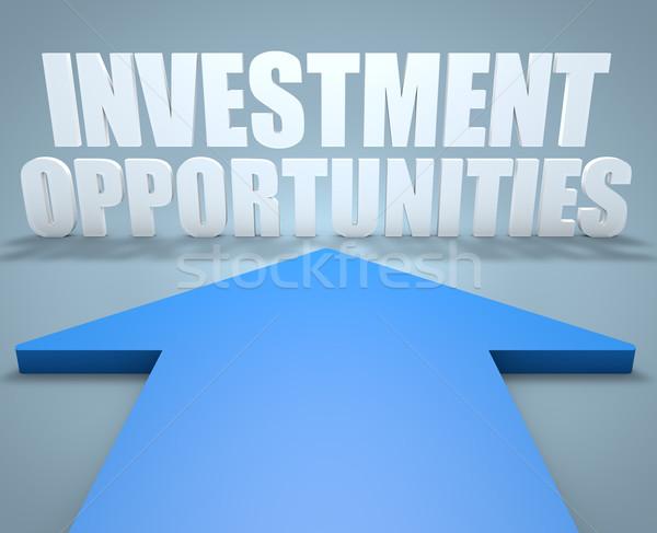 ストックフォト: 投資 · 3dのレンダリング · 青 · 矢印 · ポインティング