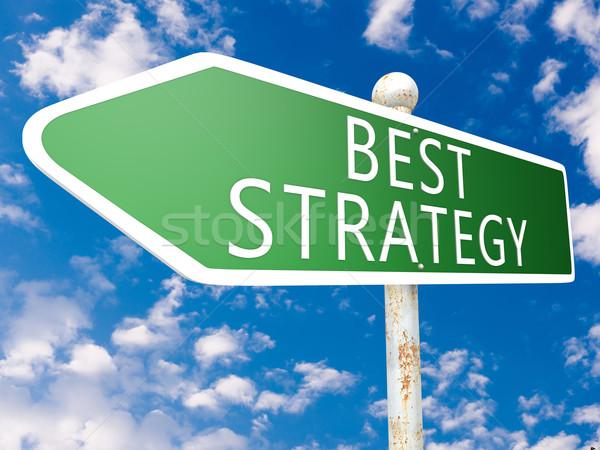 Meilleur stratégie signe de rue illustration ciel bleu nuages Photo stock © Mazirama
