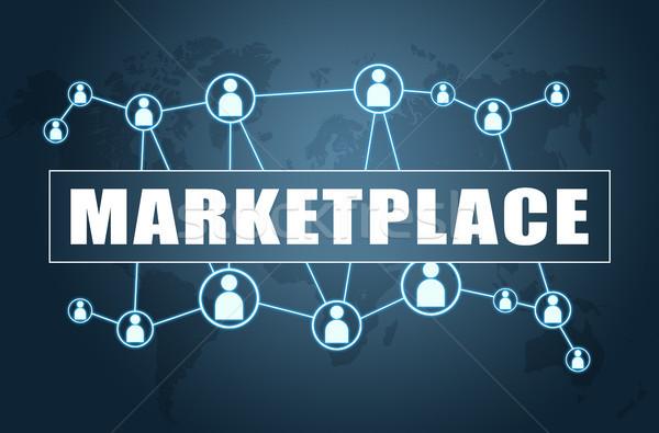 Piactér szöveg kék világtérkép társasági ikonok Stock fotó © Mazirama