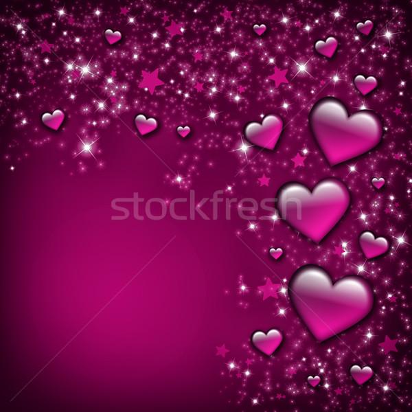 Sevgililer günü kart pembe kalpler Yıldız sevmek Stok fotoğraf © Mazirama