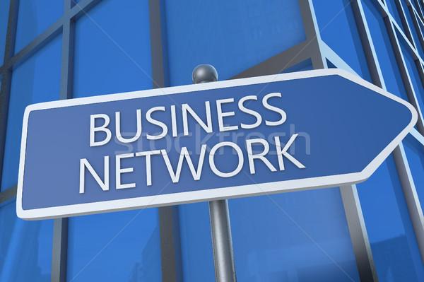Бизнес-сеть иллюстрация улице подписать офисное здание бизнеса работу Сток-фото © Mazirama