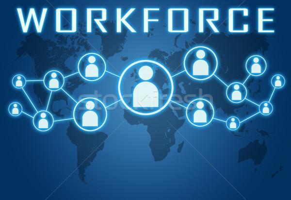 Forza lavoro blu mappa del mondo sociale icone riunione Foto d'archivio © Mazirama