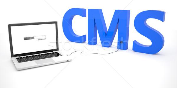Zawartość zarządzania cms laptop notebooka komputera Zdjęcia stock © Mazirama