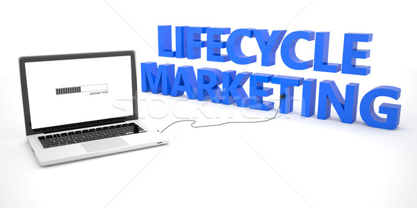 Жизненный цикл маркетинга ноутбука ноутбук компьютер слово Сток-фото © Mazirama