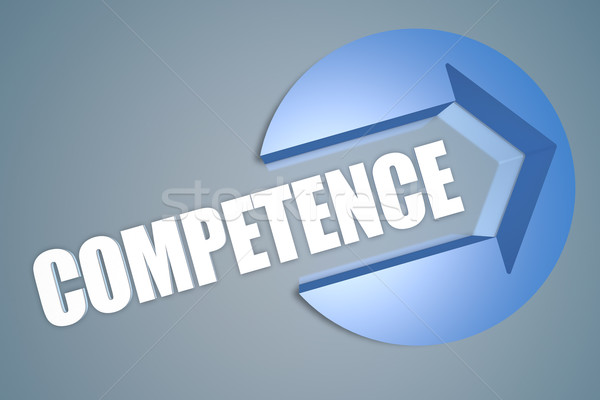 Competência texto 3d render ilustração seta círculo Foto stock © Mazirama