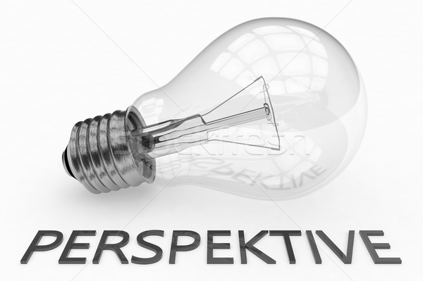 Kelime perspektif ampul beyaz metin 3d render Stok fotoğraf © Mazirama