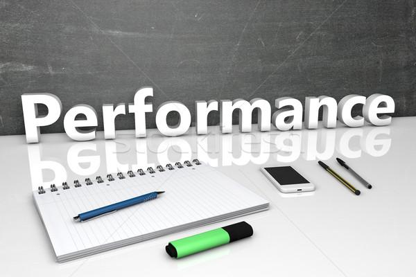 Performans metin kara tahta defter kalemler cep telefonu Stok fotoğraf © Mazirama
