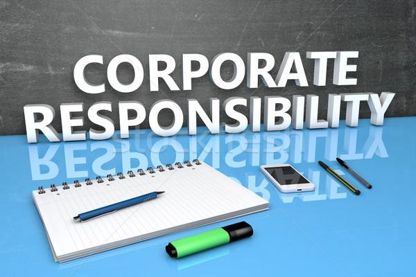 Corporate responsabilità testo lavagna notebook penne Foto d'archivio © Mazirama