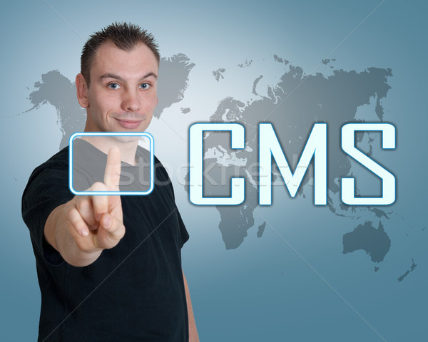 Conteúdo gestão moço imprensa digital cms Foto stock © Mazirama