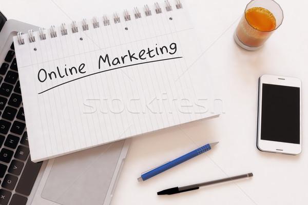 Интернет маркетинг текста ноутбук столе 3d визуализации Сток-фото © Mazirama