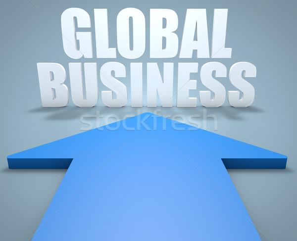 Wereldwijde business 3d render Blauw pijl wijzend wereld Stockfoto © Mazirama