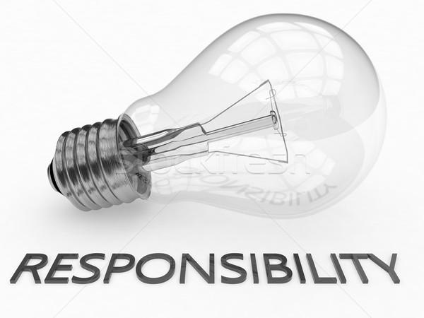 Verantwortung Glühbirne weiß Text 3d render Illustration Stock foto © Mazirama