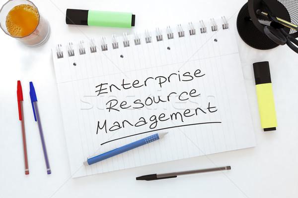 Przedsiębiorstwo zasób zarządzania tekst notebooka Zdjęcia stock © Mazirama
