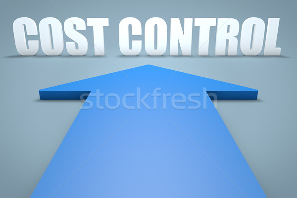 Costo control 3d azul flecha senalando Foto stock © Mazirama