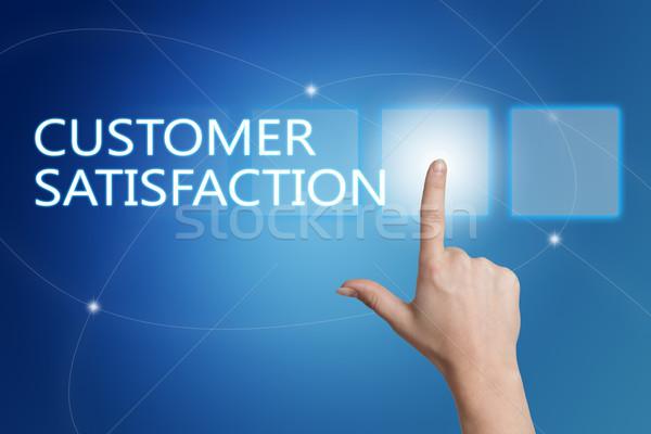 Satisfação do cliente mão botão interface azul Foto stock © Mazirama
