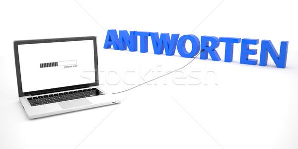 Szó válasz laptop notebook számítógép fehér Stock fotó © Mazirama