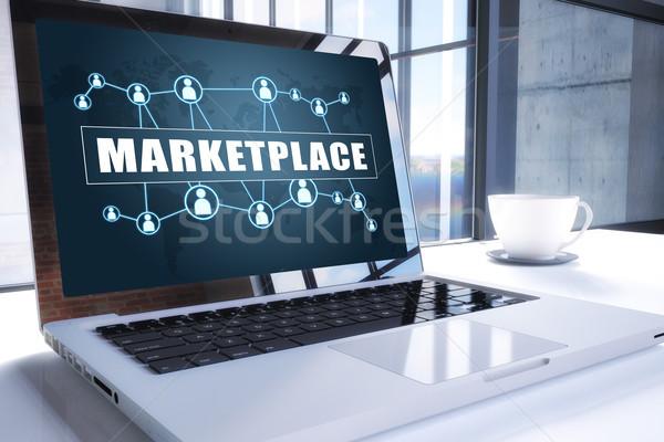 Piactér szöveg modern laptop képernyő iroda Stock fotó © Mazirama