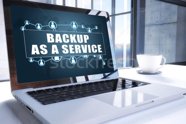 Biztonsági mentés szolgáltatás szöveg modern laptop képernyő Stock fotó © Mazirama
