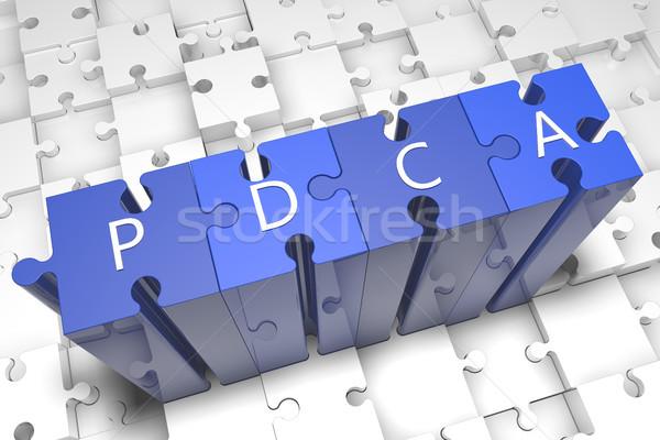 Plan sprawdzić akt puzzle 3d ilustracja Zdjęcia stock © Mazirama