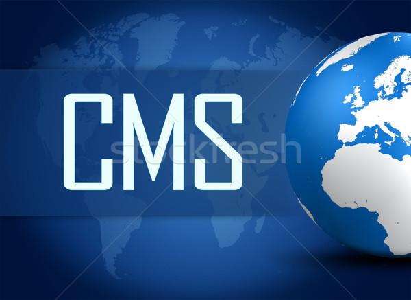 Conteúdo gestão cms globo azul mapa do mundo Foto stock © Mazirama