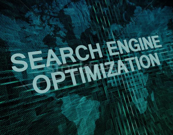 Keresőoptimalizálás szöveg zöld digitális világtérkép számítógép Stock fotó © Mazirama